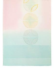 帯揚げ 七宝金銀縫取刺繍 A. ピンク × 淡青磁