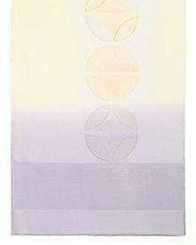 帯揚げ 七宝金銀縫取刺繍 B. 淡黄 × 淡藤