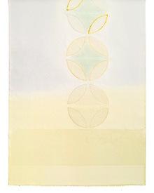 帯揚げ 七宝金銀縫取刺繍 D. 淡灰 × クリームイエロー