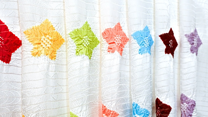 夏の帯揚げ「紋意匠絽 輪出桔梗絞り 白地」和装小物 井澤屋