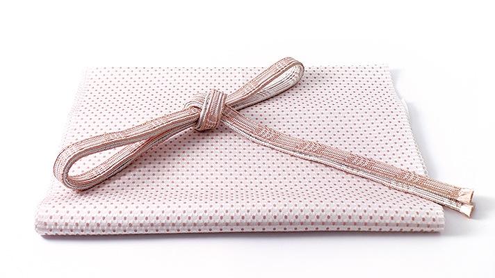 和装小物「帯締め・帯揚げセット 行儀角通し ピンク」井澤屋 水玉柄