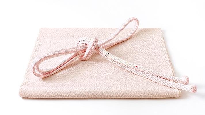和装小物「帯締め・帯揚げセット うずら縮緬 桜色」井澤屋 水玉