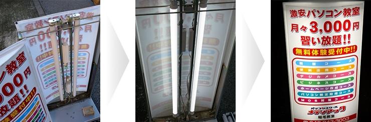 スタンド看板内の既存照明器具を撤去交換