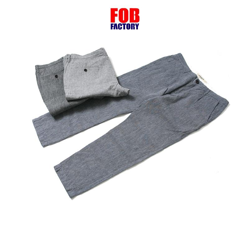 FOB FACTORY カルロリネントラウザー CARLO LINEN TROUSERS F0437 FOBファクトリー