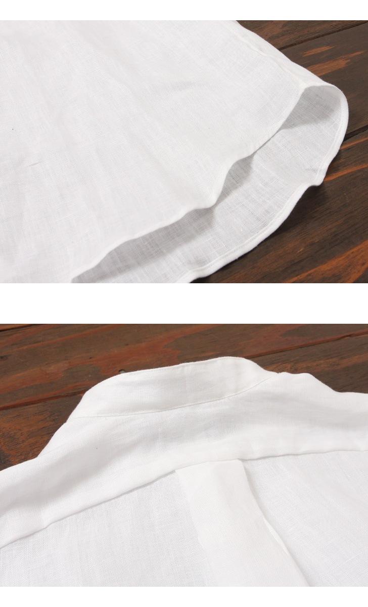 INDIVIDUALIZED SHIRTS インディビジュアライズドシャツ ニュースタンダードフィット リネン バンドカラーシャツ