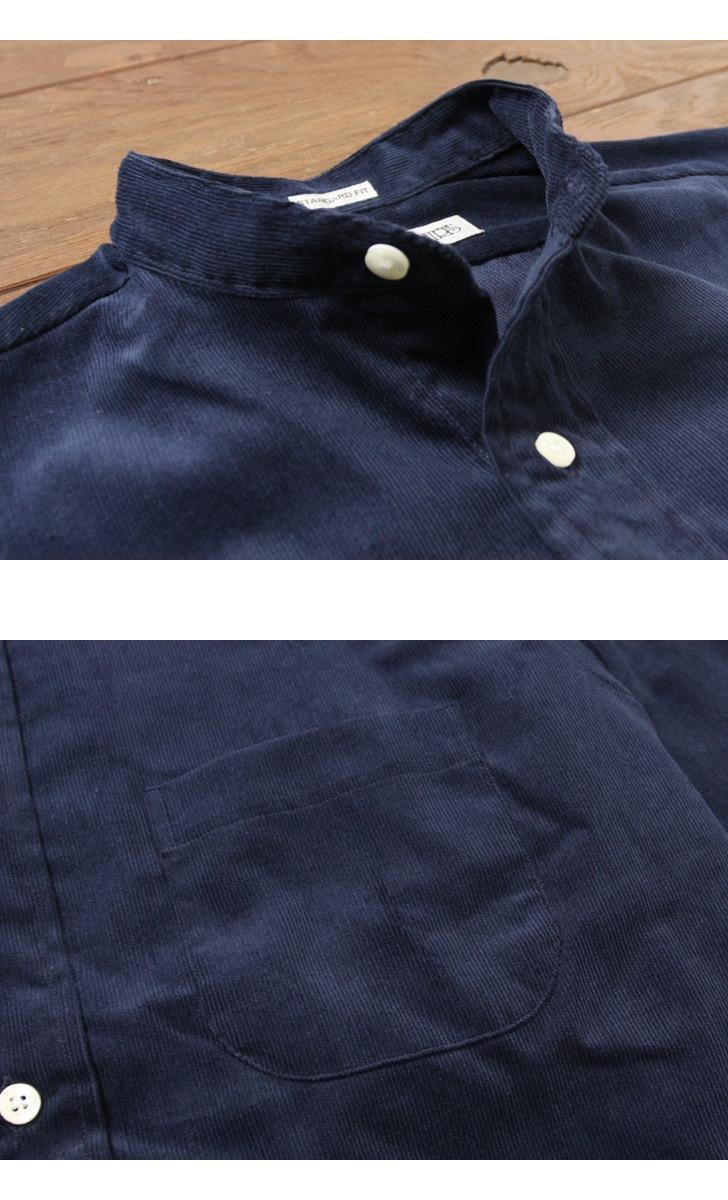 INDIVIDUALIZED SHIRTS インディビジュアライズドシャツ ニュースタンダードフィット コーデュロイ バンドカラーシャツ
