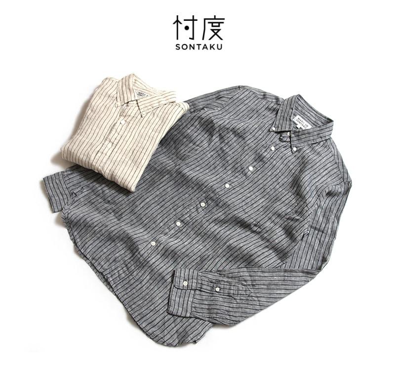 忖度 SONTAKU ソンタク ジャパンリネン ストライプBDシャツ 891HD26452