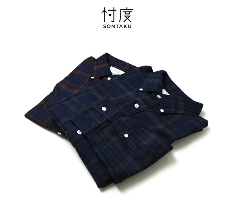 忖度 SONTAKU ソンタク インディゴ フランネルチェックBDシャツ 99406
