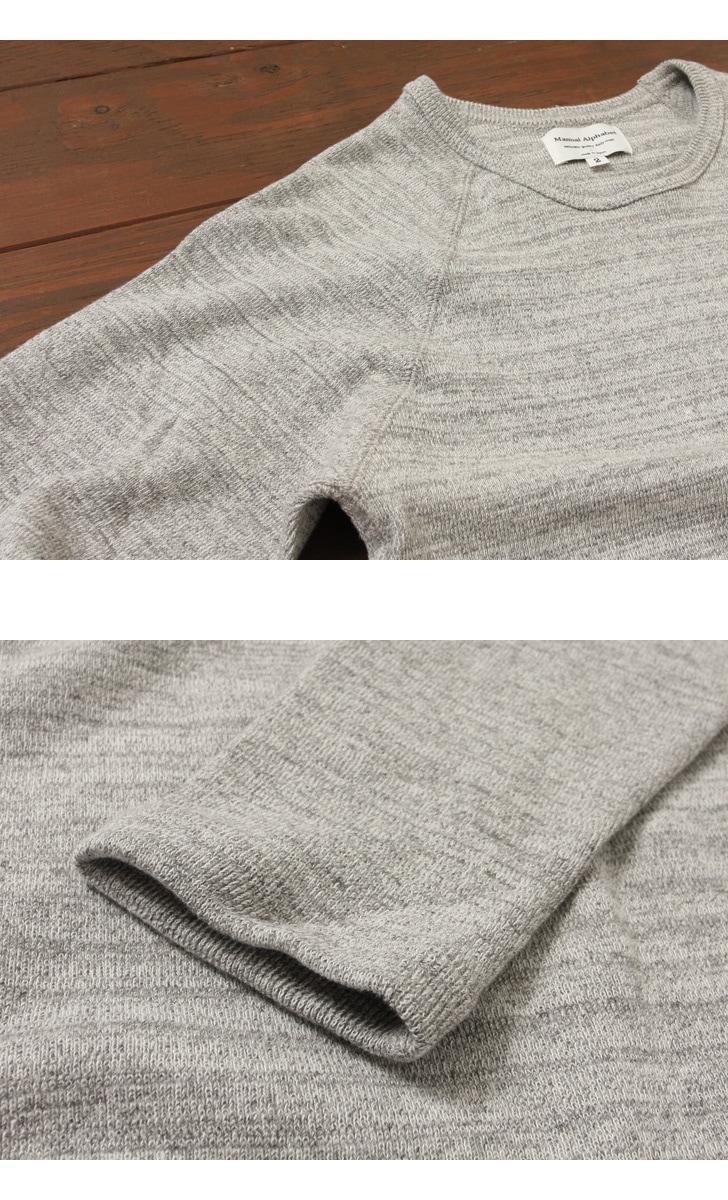 マニュアルアルファベット MANUAL ALPHABET ハーフフライス クルーネック ロングスリーブTシャツ MA-C-026