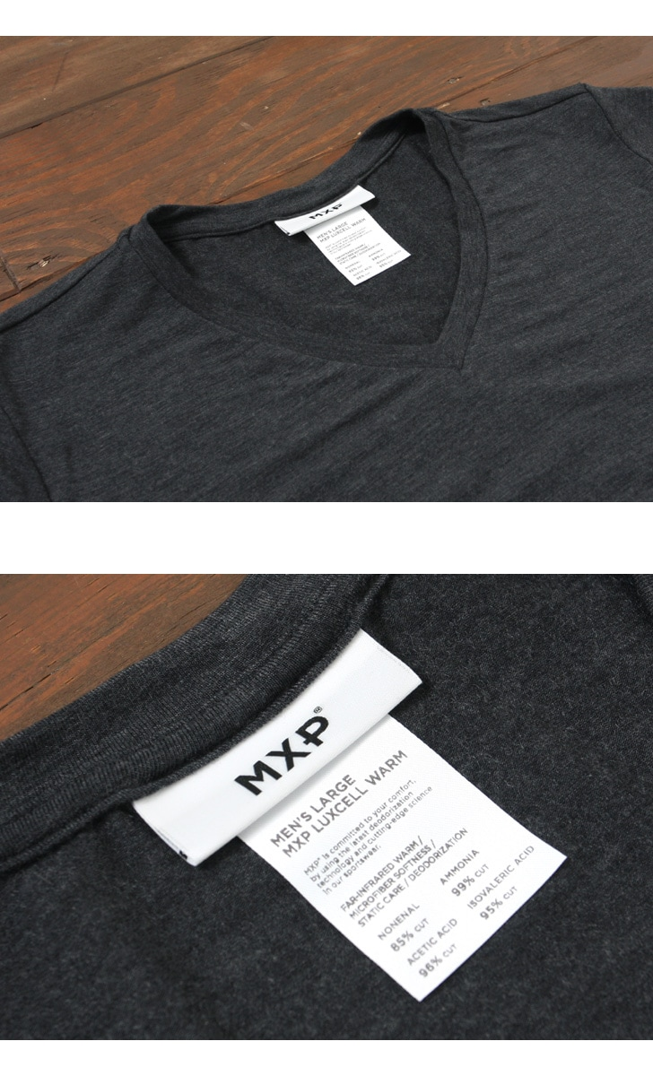 MXP エムエックスピー 8分袖 Vネック Tシャツ メンズ リュクセルウォーム MX15342