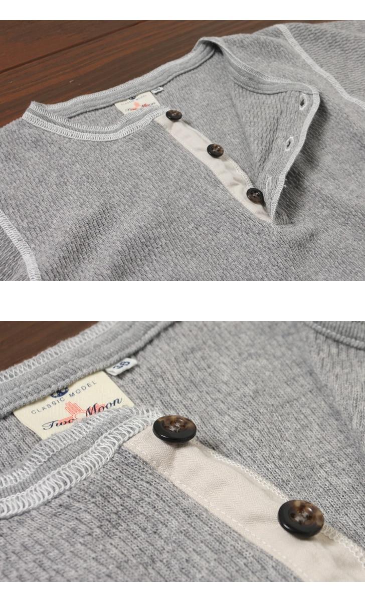 トゥームーン Two Moon オールド サーマルヘンリーネック ロングスリーブTシャツ 26507