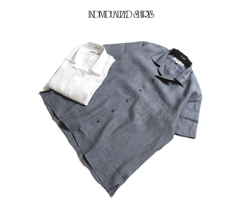 INDIVIDUALIZED SHIRTS インディビジュアライズドシャツ Athletic Fit Camp Collar Short Sleeve Shirts 無地 リネン