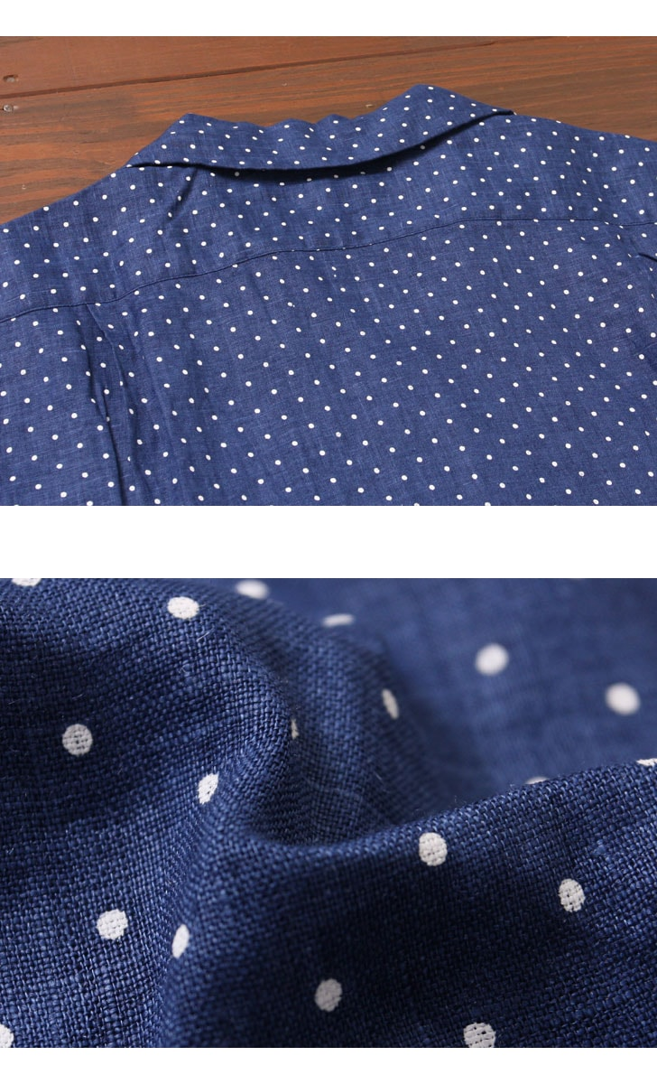 SERO セロ リネンドットオープンカラーシャツ SR71LD623M