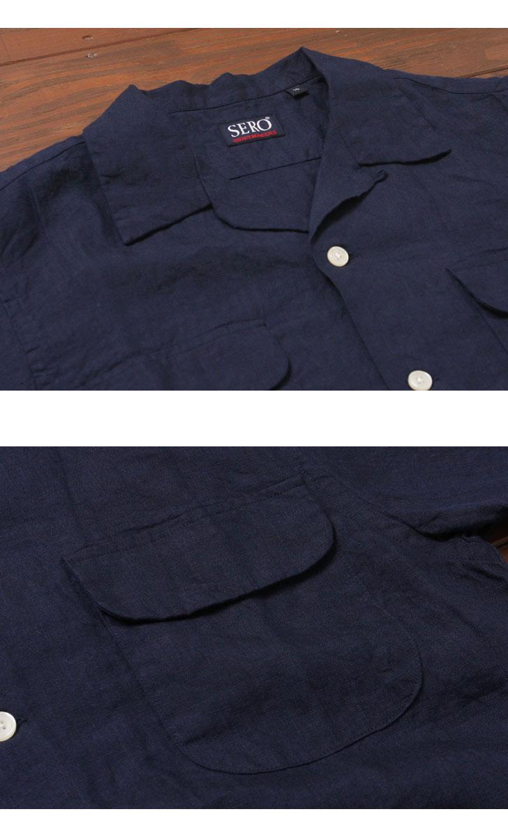SERO セロ リネンオープンカラーシャツ SR71LI623M