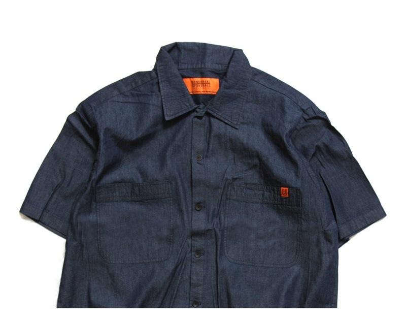 UNIVERSAL OVERALL ユニバーサルオーバーオール オープンカラーデニム半袖シャツ U913168-B