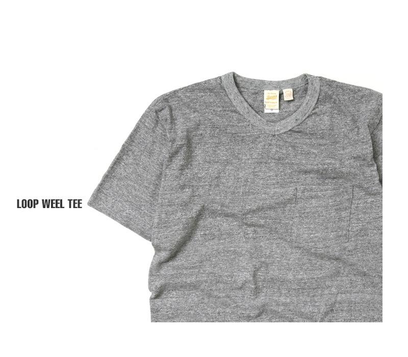 バーンズ BARNS 吊り編み天竺VネックポケットTシャツ BR-1101