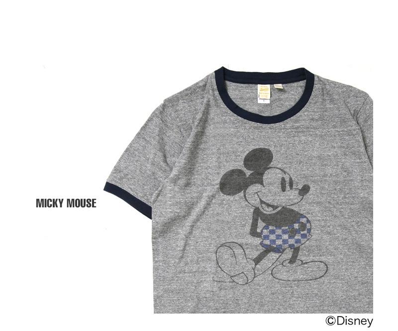 バーンズ BARNS 吊り編み天竺リンガーTシャツ [ミッキー] BR-7030 ディズニー公認