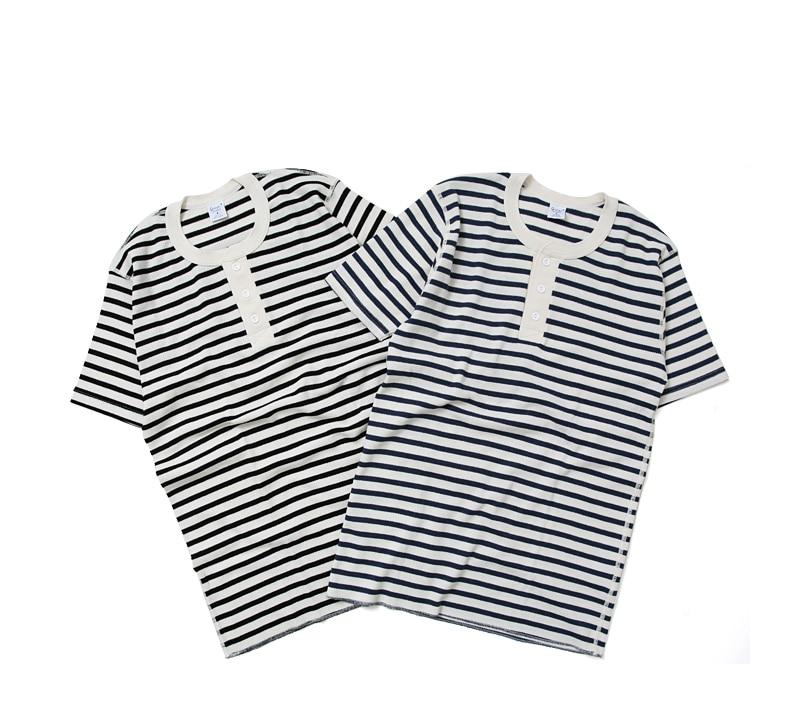icipi ジチピ ワッフル ボーダー ヘンリーネック 半袖 Tシャツ 1702