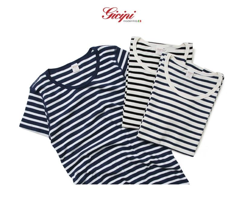 【レディース】 Gicipi ジチピ ワッフル ボーダー クルーネック 半袖 Tシャツ 1607