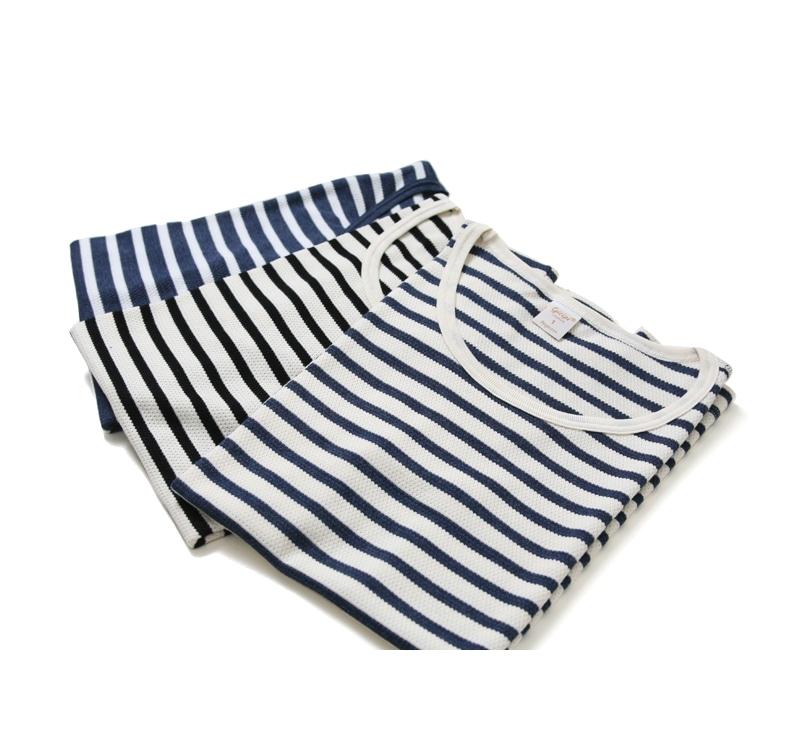 Gicipi ジチピ レディース ワッフル ボーダー クルーネック 半袖 Tシャツ インナー 1710