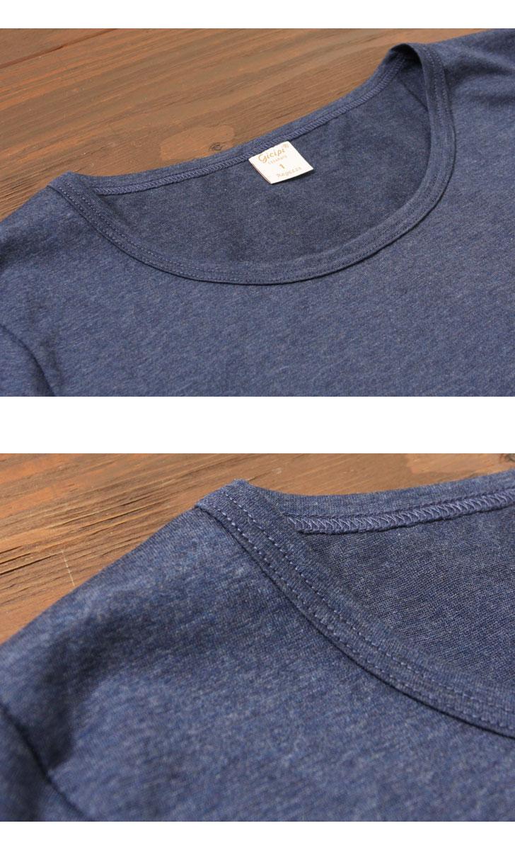 Gicipi ジチピ レディース シルケットコットン クルーネック半袖 Tシャツ インナー 1713