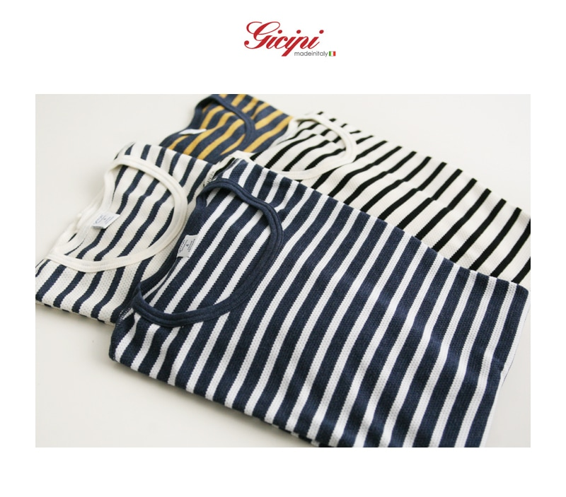 Gicipi ジチピ ワッフル ボーダー クルーネック 半袖 Tシャツ 1601