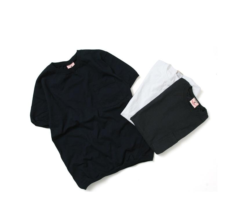 グッドウェア GOODWEAR CREW-NECK S/S T-SHIRTS WITH CUFF AND HEM RIB クルーネックリブ付きポケットTシャツ【ユニセックス】