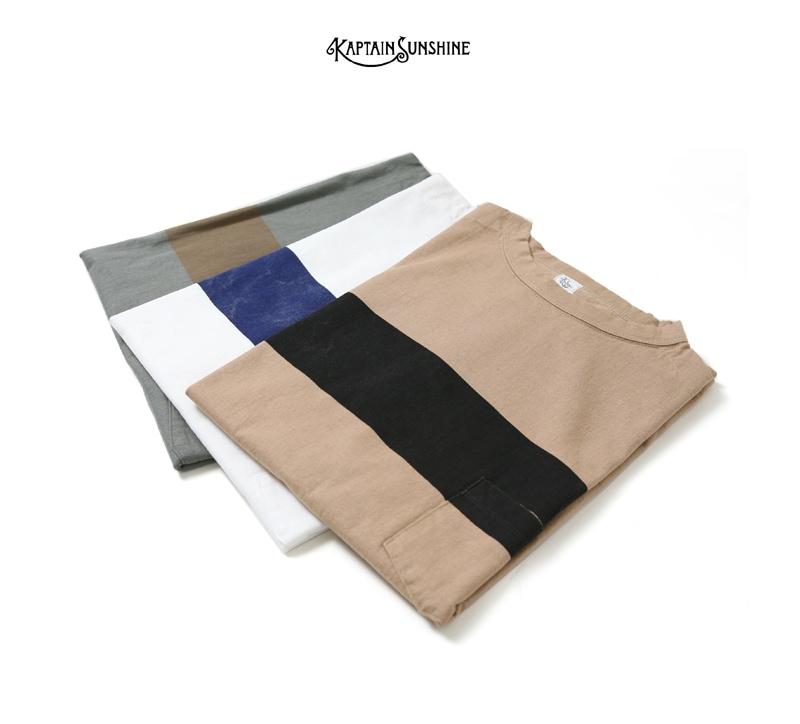 APTAIN SUNSHINE キャプテンサンシャイン West Coast Tee ラインプリントTシャツ KS7SCS03