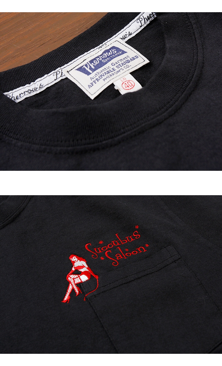 フェローズ ポケット付き 半袖刺繍入りTシャツ [SUCCUBUS SALOON] Pherrow's 18S-PPT1