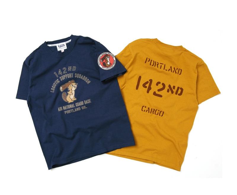 フェローズ ワッペン付き 半袖プリントTシャツ [142ND ANGB] Pherrow's 18S-PT5