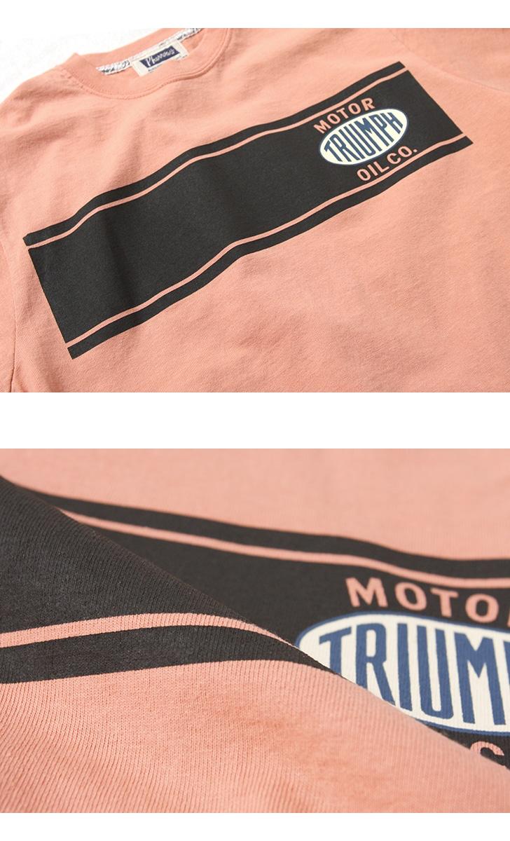 Pherrow's フェローズ ワッペン付き半袖プリントTシャツ [TRIUMPH] 19S-PT3