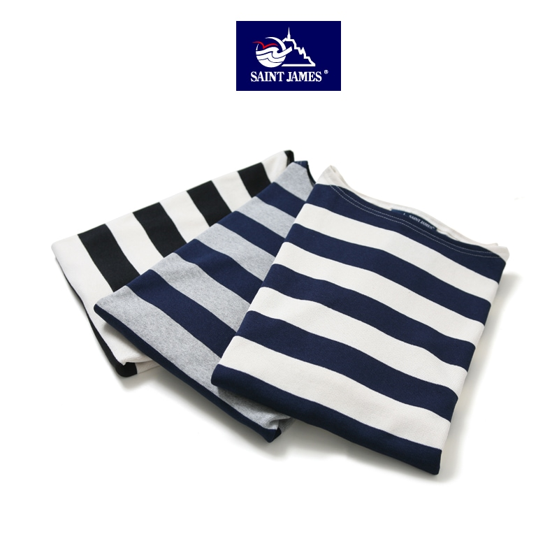 セントジェームス ウエッソン メンズ 半袖Tシャツ ワイドボーダー バスクシャツ OUESSANT