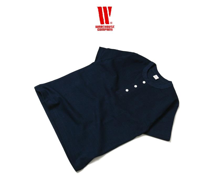 ウエアハウス WAREHOUSE インディゴヘンリーネックTシャツ 半袖 4055