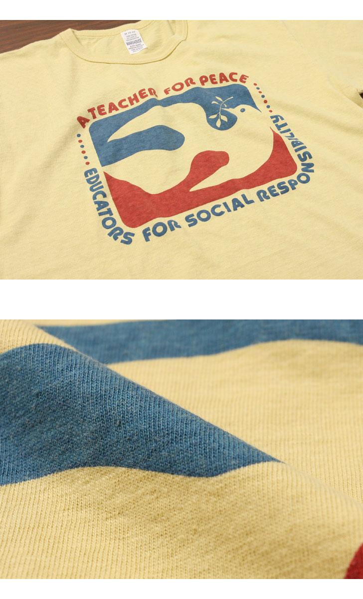 ウエアハウス WAREHOUSE 2nd hand Series プリントTシャツ 4064 [FOR PEACE]
