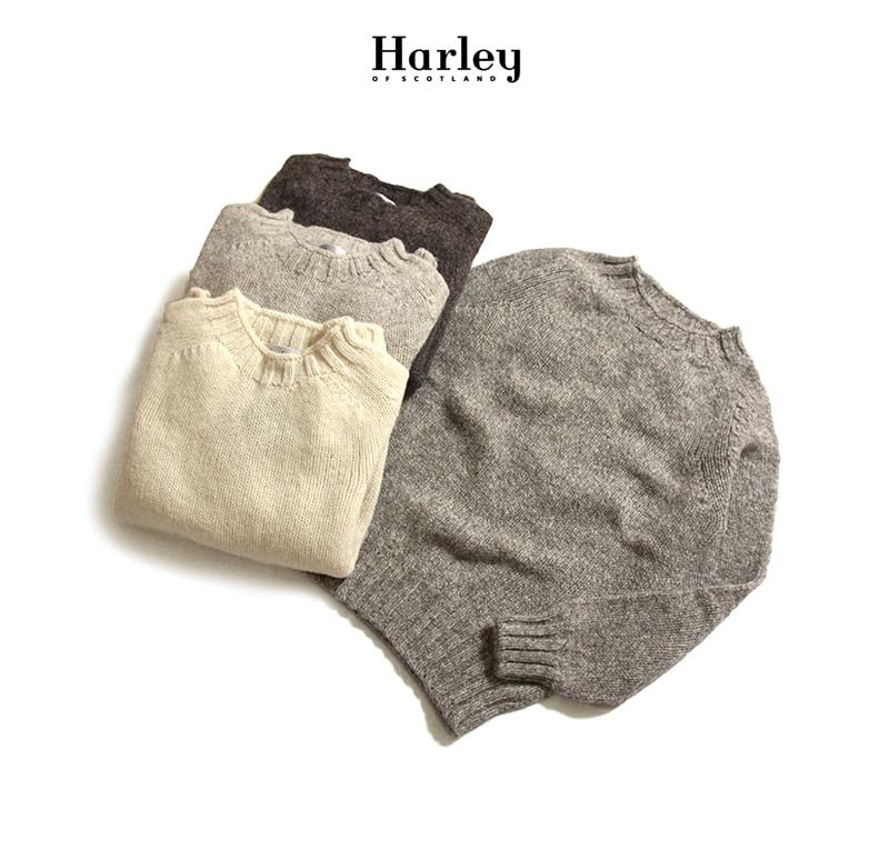 Harley of Scotland ハーレーオブスコットランド ローゲージシェットランドセーター 原毛 エコロジーヤーン
