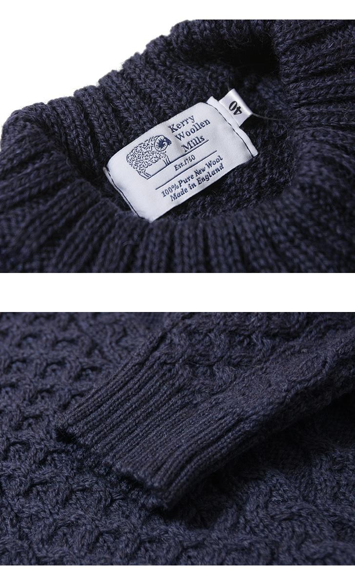 KERRY WOOLLEN MILLS ケリーウーレンミルズ アランケーブルクルーネックライトセーター KW018-003