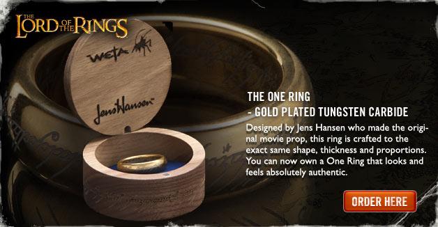 - ロード・オブ・ザ・リング ひとつの指輪- 金メッキタングステンカーバイド(文字刻印あり)