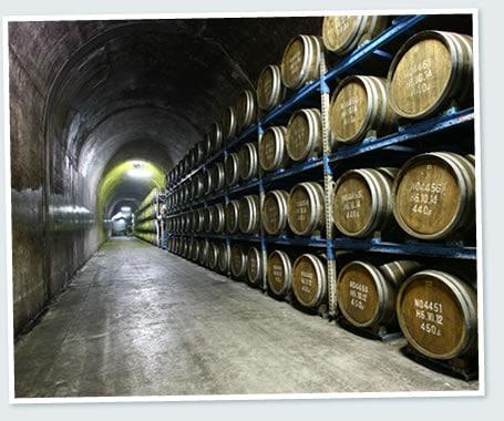 樽を貯蔵しているトンネル