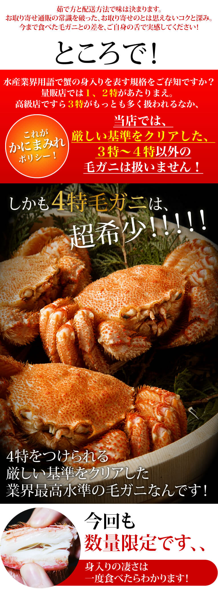 今年の冬シーズン本番を前に、「家族団欒で蟹を食べたいけど、蟹のことはよくわからないし、ネット注文だとどんな蟹が届くか不安、、」という、年末にぶっつけ本番で失敗したくない方、必見です。まずこの別格毛ガニをお試しください!当店の看板蟹であり鉄板蟹。当店のリピート支持率NO.1!