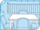 シーバイエス 無リンフォワード レストランのテーブル