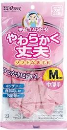 ダンロップ 炊事手袋天然ゴム中厚手 Mサイズ ピンク