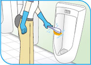 シーバイエス中性クリーナー/トイレボウル、壁面、タイル面の洗浄方法