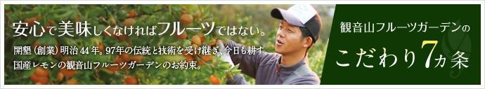 「観音山フルーツガーデンのこだわり7ヶ条」安心で美味しくなければフルーツではない。開墾(創業)明治44年。97年の伝統と技術を受け継ぎ、今日も耕す。国産レモンの観音山フルーツガーデンのお約束。