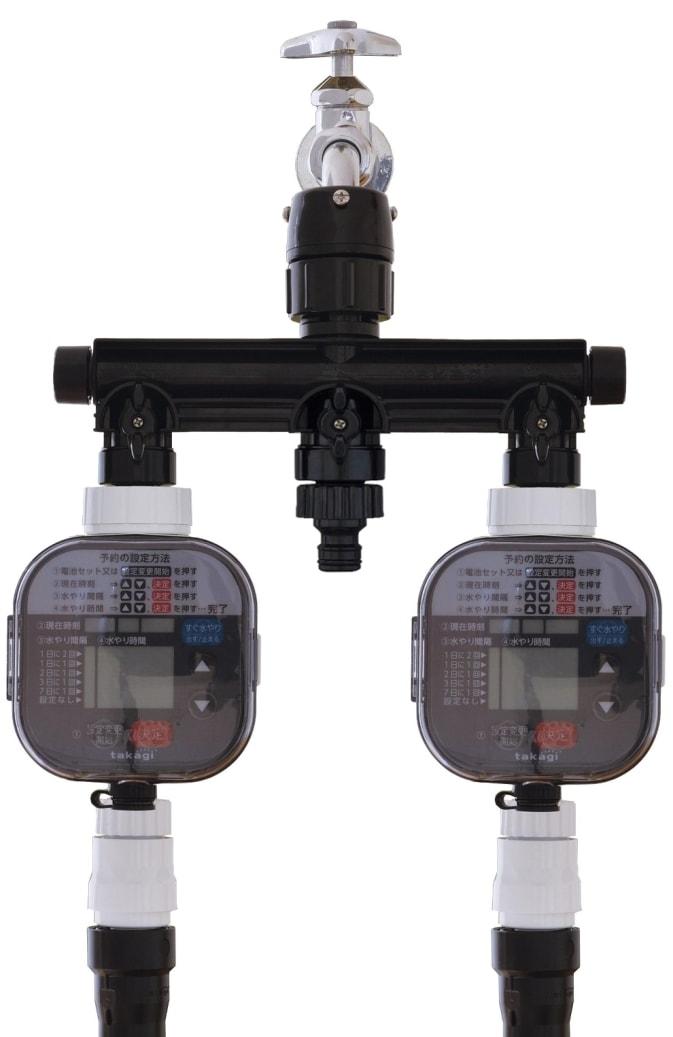 3分岐蛇口ニップル(ブラック・黒)は自動で水やりができるタイマーが2台まで取付が可能