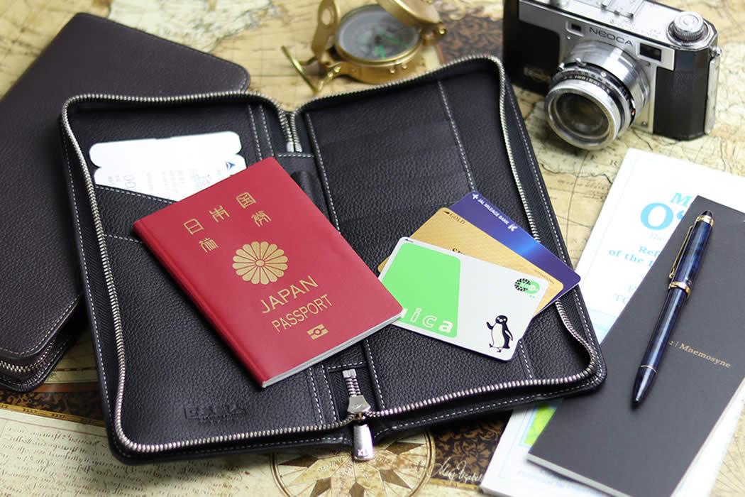 パスポートケース ラウンドファスナー 革 大容量