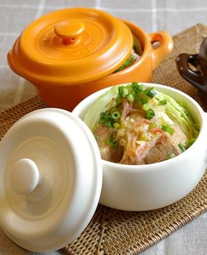 キャベツと塩豚の蒸煮 干し海老ソース
