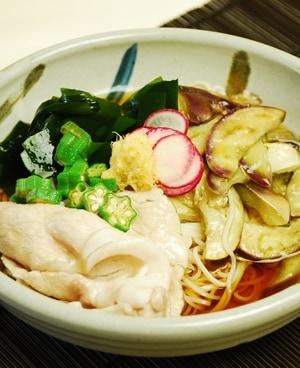 茄子と豚肉の冷しゃぶ素麺
