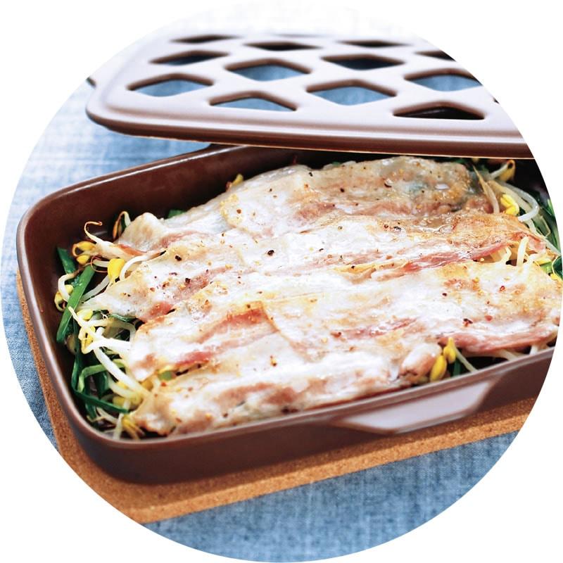 豚ばら肉のグリルと蒸し野菜