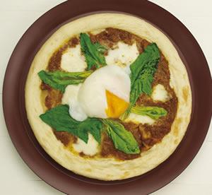 キーマカレーの温玉ピザ