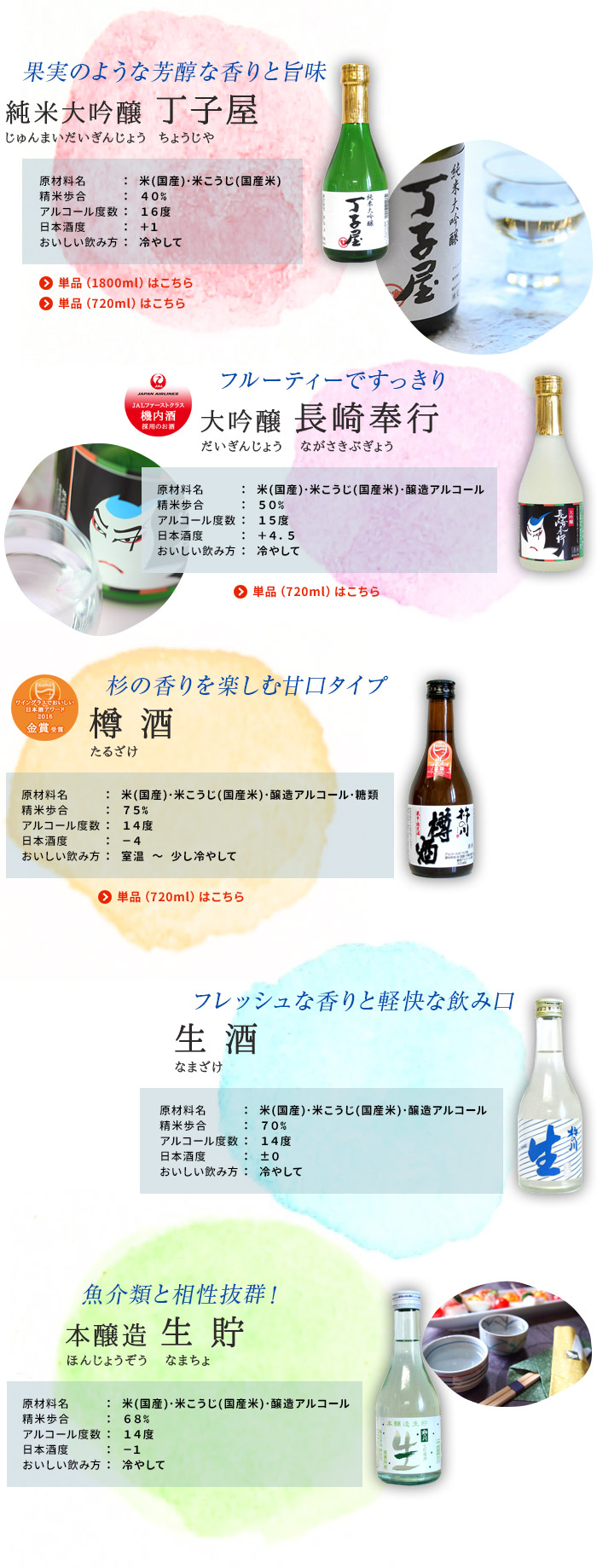 杵の川 飲み比べセット(純米大吟醸 丁子屋・大吟醸 長崎奉行・樽酒・生酒・本醸造 生貯樽酒)